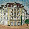 """Uebt Gastfreundschaft!"" Nr. 25 / 2018 – 2019 Grösse: 54 x 60 cm (Römer 12:13) aus 200 g Aluminium (Hotel Metropol-Schweizerhof, Solothurn (1896 -1971)"